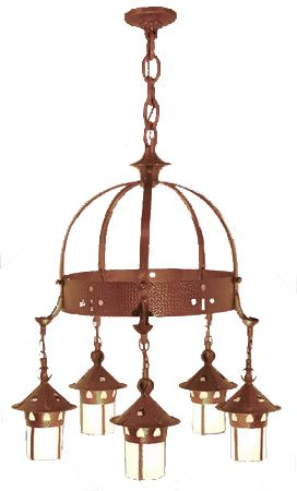 Arts & Crafts Stickley Heart Hanging 5 Light Chandelier (405-PAC-CH)