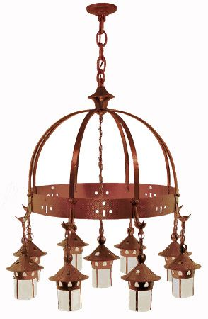Arts & Crafts Stickley Heart Hanging 9 Light Chandelier (409-NAC-CH)