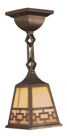 Mission Close Ceiling Light, Semi-Flush Pendant with Chain Pattern Shade (417-MCCL-C1)