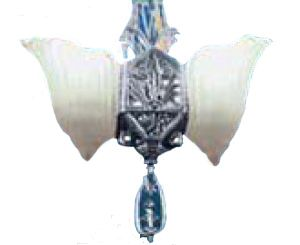 Art Deco Pendant Lights 2 Light Slip Shade Lincoln Fleur de Lis - Nickel Plated (42-DPN-FS)