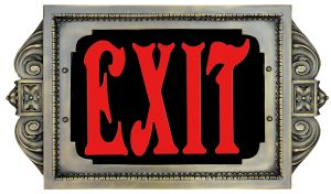 "420NY-BR Special New York (and others) 1920s era Brass Face, Red 8"" Words, Exit Sign (420NY-BR)"