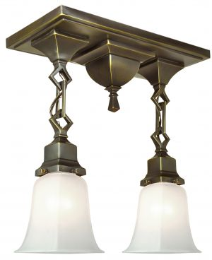 Mission Style Close Ceiling Double Pendant Light (421-SPN-EP)