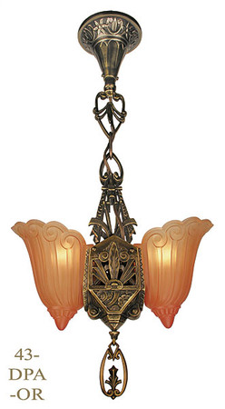 Art Deco Hanging Pendants 2 Light Lincoln Fleur de Lis Slip Shade in Antique Brass Finish (43-DPA-OR)