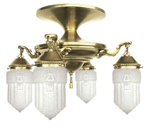 Roosevelt 4 Lamp Semi Flush Mount Close Ceiling Chandelier (444-CCL)