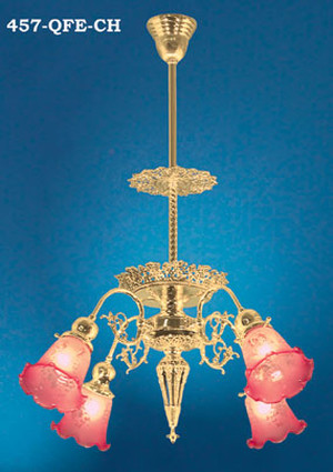 4 Light Pierced Brass Chandelier (457-QFE-CH)