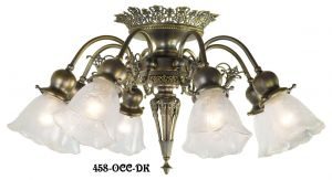8 Light Pierced Brass Short Ceiling Chandelier (458-OCC-FC)