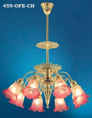 Victorian 8 Light Pierced Brass Chandelier (459-OFE-CH)