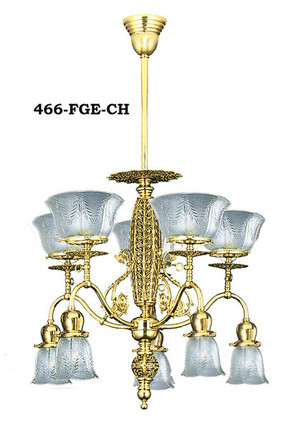 Pierced Center 10 Light Gas & Elec Chandelier (466-FGE-CH)