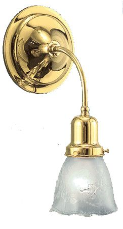 Victorian Sconce - Simple Brass Electric Wall Sconce Circa 1900 (503-MES)