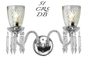 Victorian Sconce - Crystal Double Sconce Nickel Plated (51-CRS-DB)