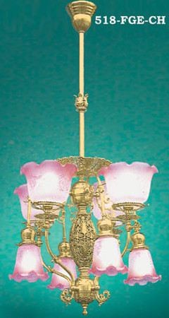 Pierced Center 8 Light Transitional Chandelier C. 1890 (518-FGE-CH)