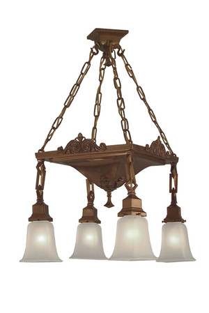 Mission 4 Light Chain & Pan Chandelier (524-LPN-CH)