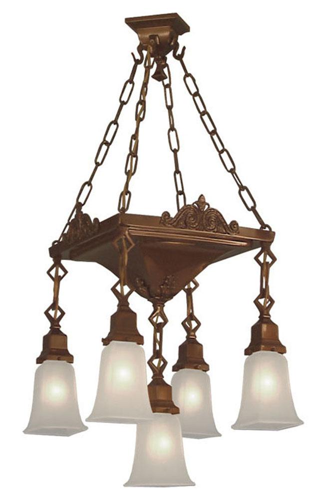 Vintage hardware lighting mission 5 light large pan for Arts and crafts chandelier