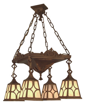 Mission Chain Hung 4 Arm Chandelier Diamond Shade (527-LPN-J1)