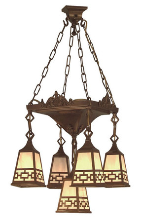 Mission 5 Arm Chandelier Pan Light Chain Shade (528-LPN-C1)