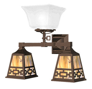 Mission Sconce Three Light Transitional Gas & Electric with Chain Design Shade (531-TC1-GE)