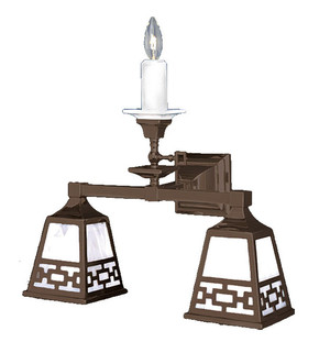 Mission Style Candle & Elec Triple Wall Sconce Light With Chain Shade (533-TC3-SA)