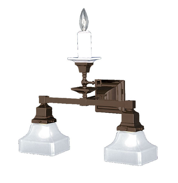 Mission Style Wall Sconces Lighting : Vintage Hardware & Lighting - Mission Style Candle & Electric Triple Wall Sconce (536-TGE-SA)