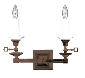 Mission Style Candle 2 Arm Wall Sconce Light (539-DGS-SA)