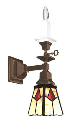 Mission Style Single Arm Candle & Electric Wall Sconce Light (541-MGE-SA)