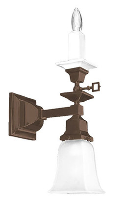 Mission-Style-Single-Arm-Candle-and-Electric-Wall-Sconce-Light-(541-MGE-SA)