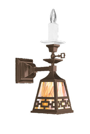 Mission Style Candle & Electric Sconce With Chain Shade (544-SC1-SA)