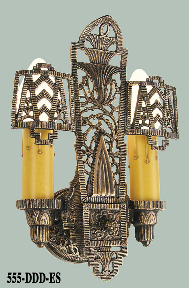 Art Deco Wax Candle Wall Sconces : Vintage Hardware & Lighting - Double Candle Wall Electric Sconce Light Circa 1920 (555-DDD-ES)