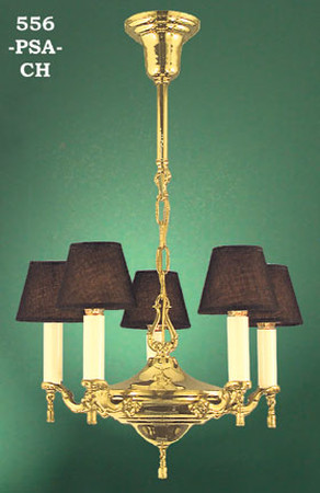 Candle Chandelier 5 Light With Cloth Shades (556B-PSA-CH)