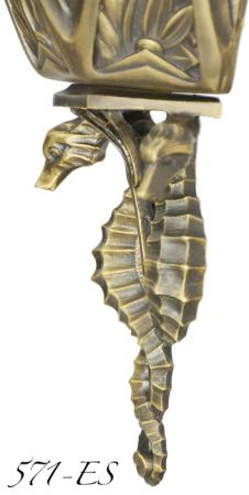 Art-Deco-Wall-Lighting-Ocean-Seahorse-Marine-Motif-Large-Sconces-(571-ES)