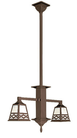 Mission Tall Stem 2 Arm Pendant Ceiling Light With Chain Shade (580-DC1-EP)
