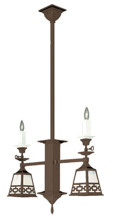 Mission Style Candle & Electric 2 Arm Pendant Chain Shade (581-DC1-SA)