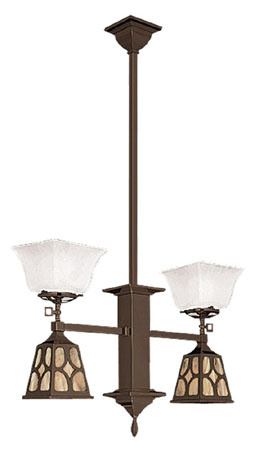 Mission Gas & Elec 2 Arm Pendant Chandelier J Shade (583-DJ1-GE)