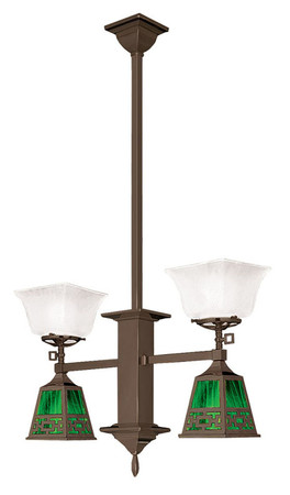 Mission Gas & Elec 2 Arm Long Pendant Light Chain Shade (584-DC1-GE)