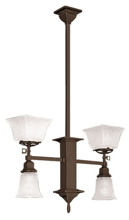 Mission Gas & Elec 2 Arm Long Pendant Chandelier (586-SGE-EP)