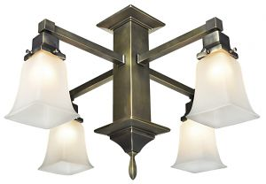 Mission Style 4 Arm Pendant Close Chandelier (589-SCC-QE)