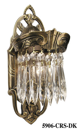 Art Deco Wall Sconces Lighting Crystal Prism Lincoln Utopia Series (5906-CRS-DK)