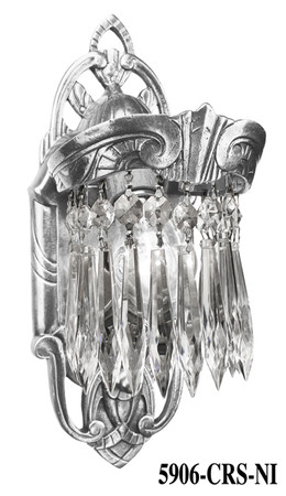 Art Deco Wall Fixtures Sconces Crystal Prism Lincoln Utopia Series in Nickel Plated (5906-CRS-NI)