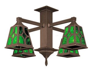 Mission 4 Arm Pendant Chandelier Diamond Shade (593-QJ1-CC)