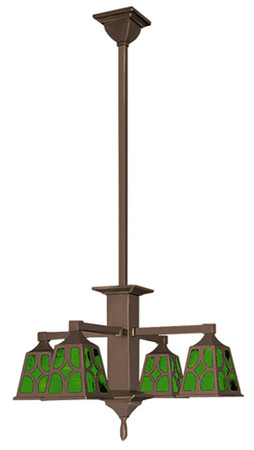 Mission 4 Arm Ceiling Pendant Chandelier J Shade (596-QJ1-CH)