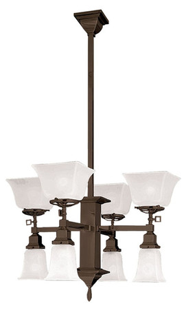 Mission Style Transitional 8 Light Chandelier (597-SGE-CH)