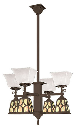 Mission Transitional Chandelier J Shades (600-QJ1-GE)
