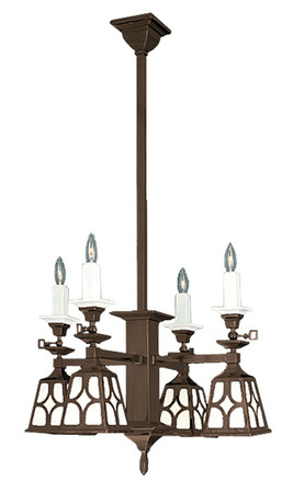 Mission Candle & Electric Chandelier J Shade (602-QJ1-SA)