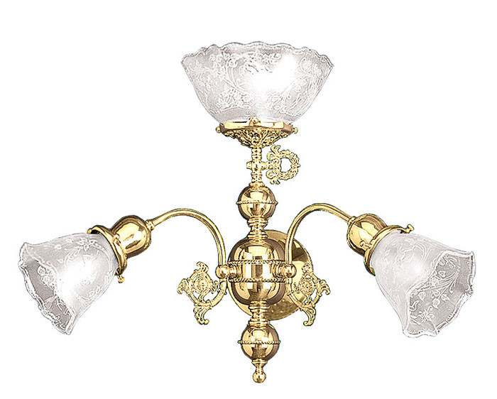 Vintage Hardware & Lighting - Victorian Triple Gas & Electric Wall Sconce Light (606-TRP-GE)