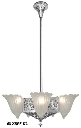 Art Deco Chandeliers 1930s Lighting Fleur De Lis Slip Shade Short 5 Light (62-SPF-DL)