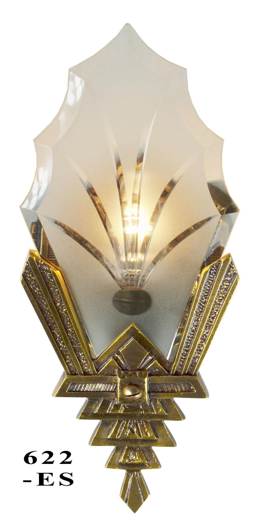 Art Deco Glass Wall Sconces : Vintage Hardware & Lighting - Art Deco Wall Sconces Cut Glass Lighting (622-ES)