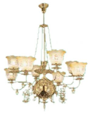 Victorian 8 Arm Recreated Gas Chandelier Circa 1890 (640-OGS-CH)
