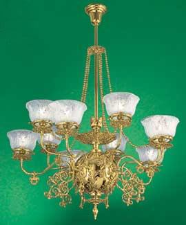 Vintage hardware lighting 10 light recreated gaslight chandelier mgctlbxnmzp mgctlbxv5111 mgctlbxlc aloadofball Choice Image