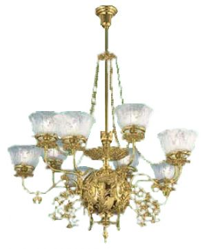 10 Light Recreated Gaslight Chandelier Circa 1890 (641-10L-CH)