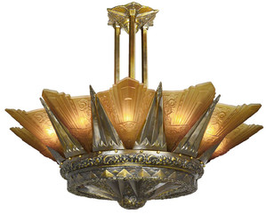 "42"" French Marseille 12 Light Art Deco Slip Shade Chandelier in Antique Brass Finish (650-12L-DKX)"