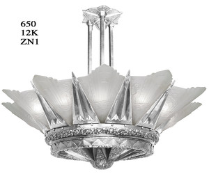 "42"" French Marseille 12 Light Art Deco Slip Shade Chandelier in White Metal (650-12L-ZNX)"